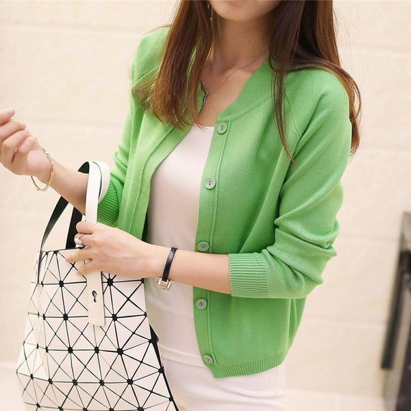 Spring Autumn Women Fashion 8 color Wool Sweater V-neck Cardigan Button Solid Casual Wild Female Small Shawl Jacket