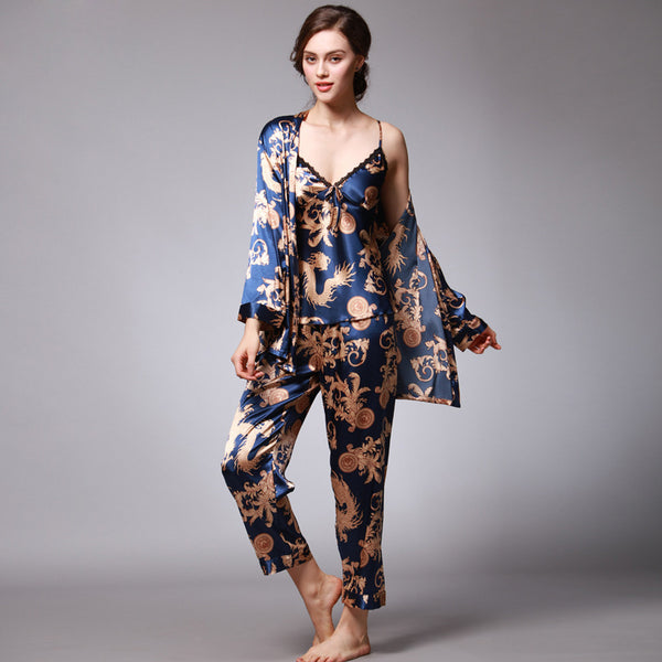Summer Women Silk Pajamas Three-piece Suit 5 Colours  Nightgown Bathrobe Tracksuit
