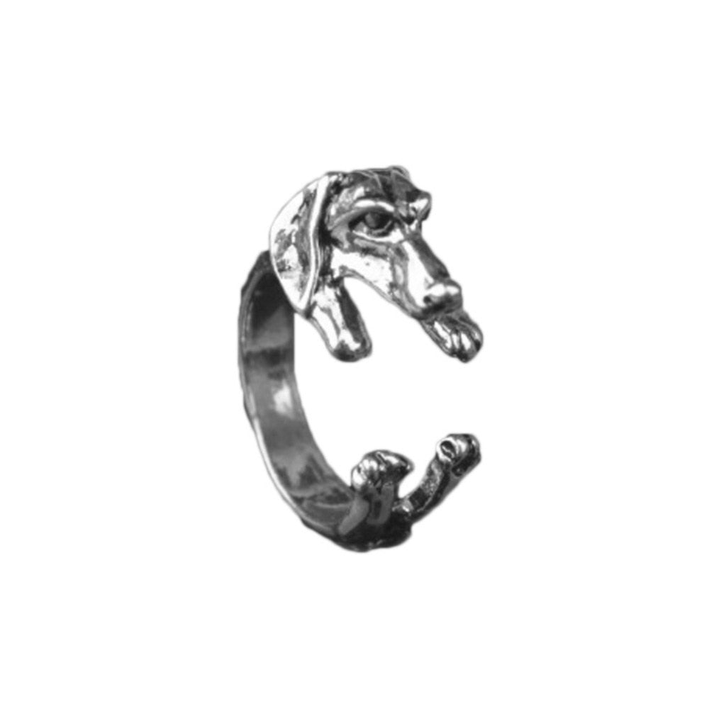 Vintage 1pcs Antique Bronze Labrador Retriever Animal Rings Adjustable Tiny Dog Rings for Women