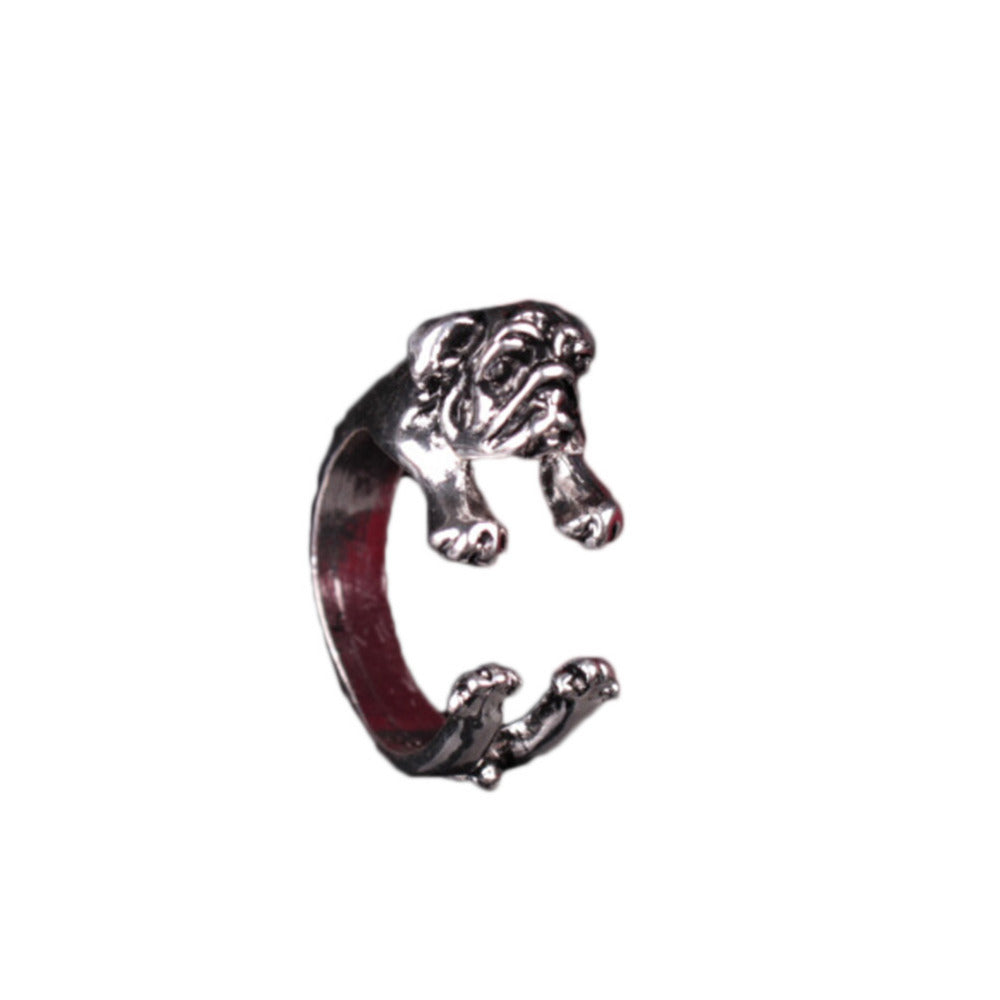 Animal Wrap Retro dog Animal Shape Ring Adjustable Cute Vintage  Ring for Men Women Jewelry