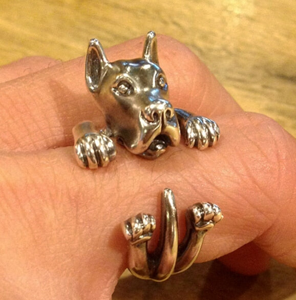 wholesale cute Great Dane Ring free size cartoon animal dog Ring bulldog ring  jewelry for lady 12pcs/lot