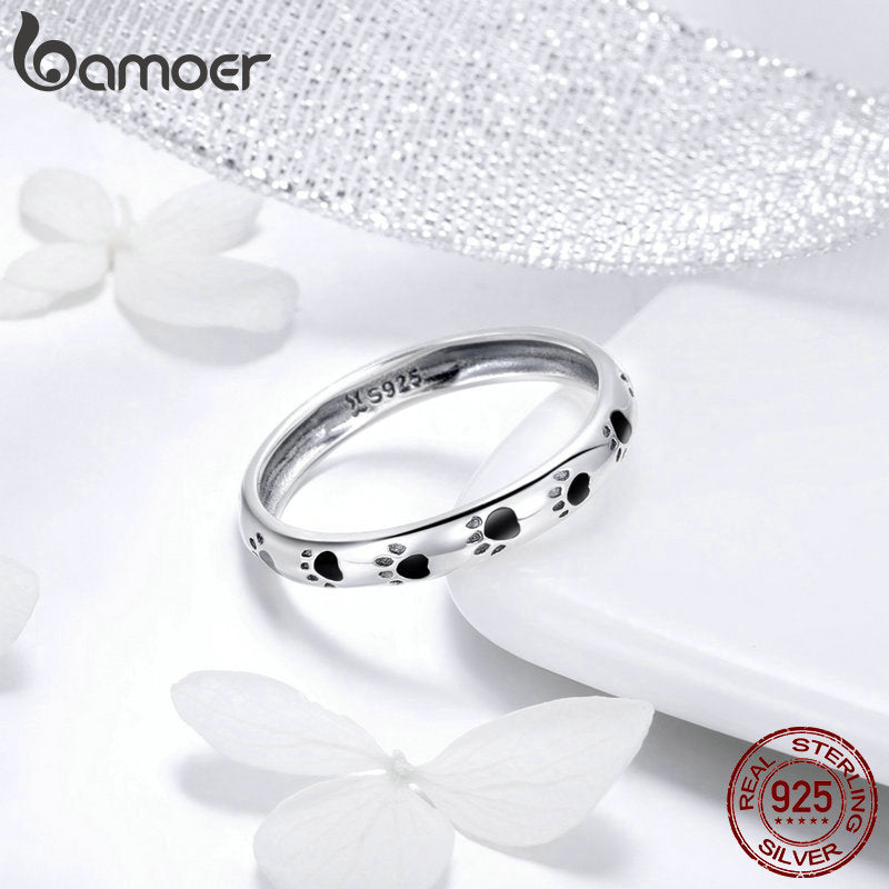 BAMOER 925 Sterling Silver Stackable Dog Cat Footprints Finger Rings for Women Wedding  Ring Jewelry Valentine's Day GIFT SCR445