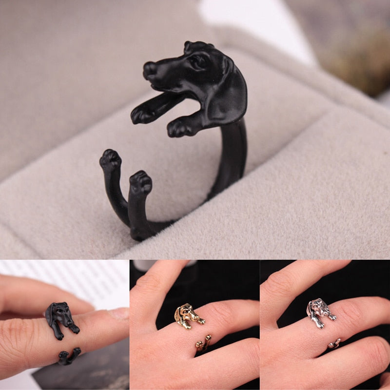 Man Women Fashion Cute Vintage Yorky Terrier Rings Puppy Big Ear Dog Rings