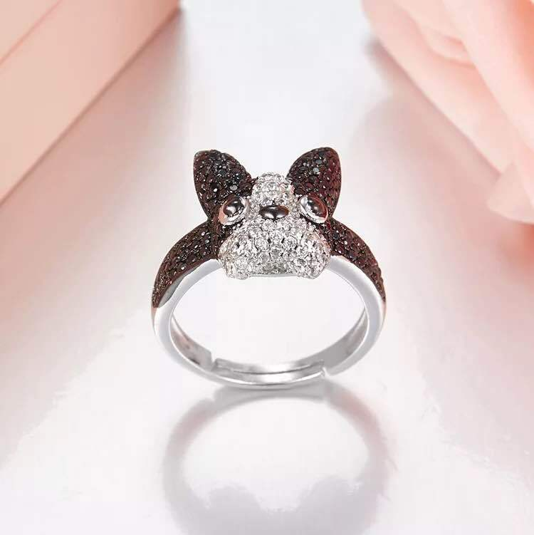 New Arrival 925 sterling silver Bulldog Puppy rings For women Cute Fancy Dog pet Jewelry Open rings anillos plata 925 para mujer