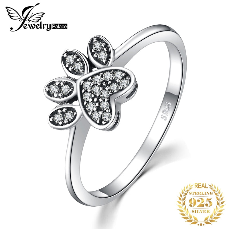 JewelryPalace Vintage Dog Paw Fingerprint Pave 0.2ct Cubic Zirconia Ring 925 Sterling Silver Fashion Gift Silver Rings For Women