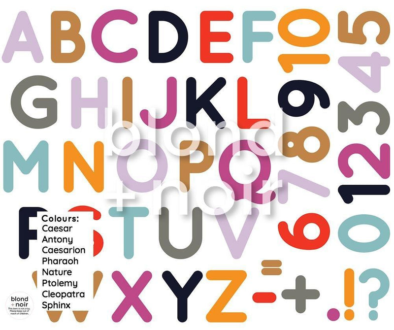 Alphabet & Numbers | Removable Fabric Wall Decals Wall Decals Blond + Noir