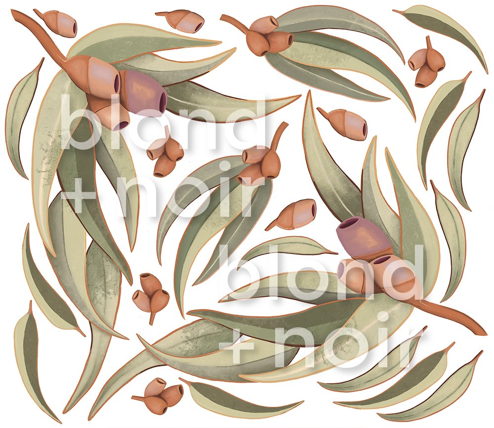 Aussie Gum Leaves | Removable Fabric Wall Decals Wall Decals Blond + Noir