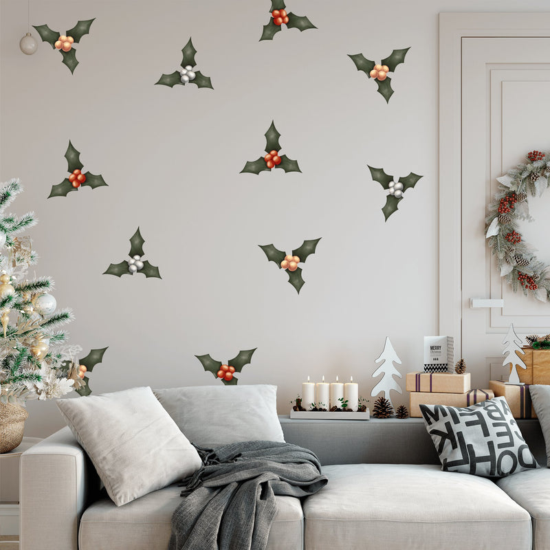 Christmas Holly | Removable Fabric Wall Decals Wall Decals Blond + Noir