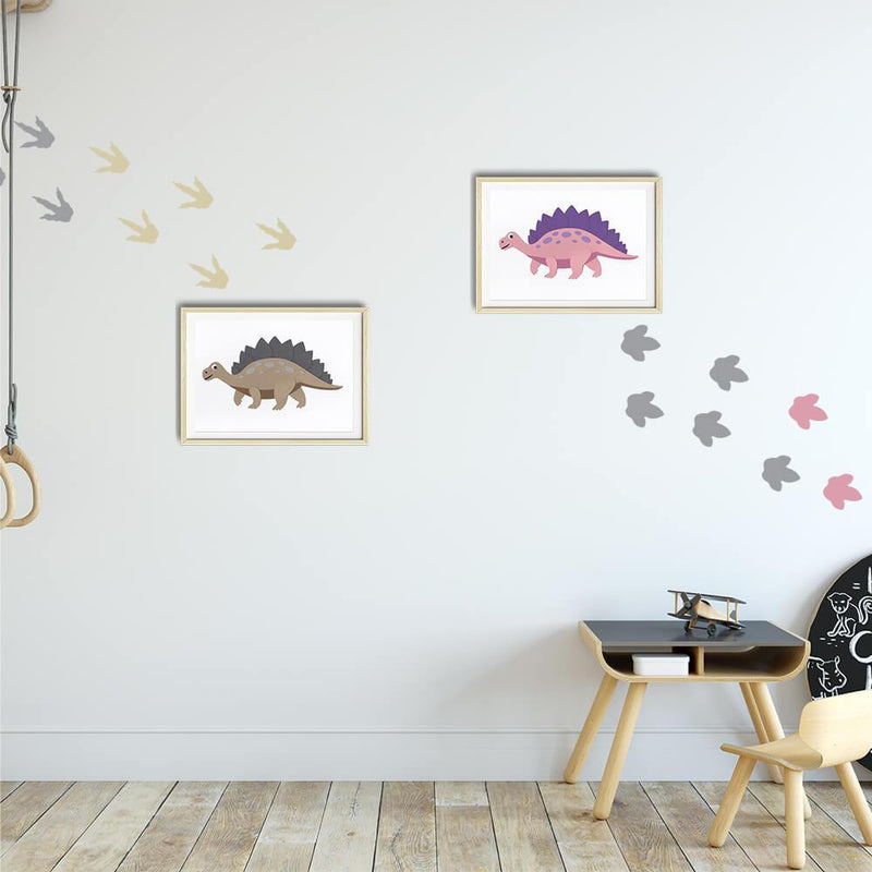 Dinosaur Footprints | Removable Fabric Wall Decals Wall Decals Blond + Noir