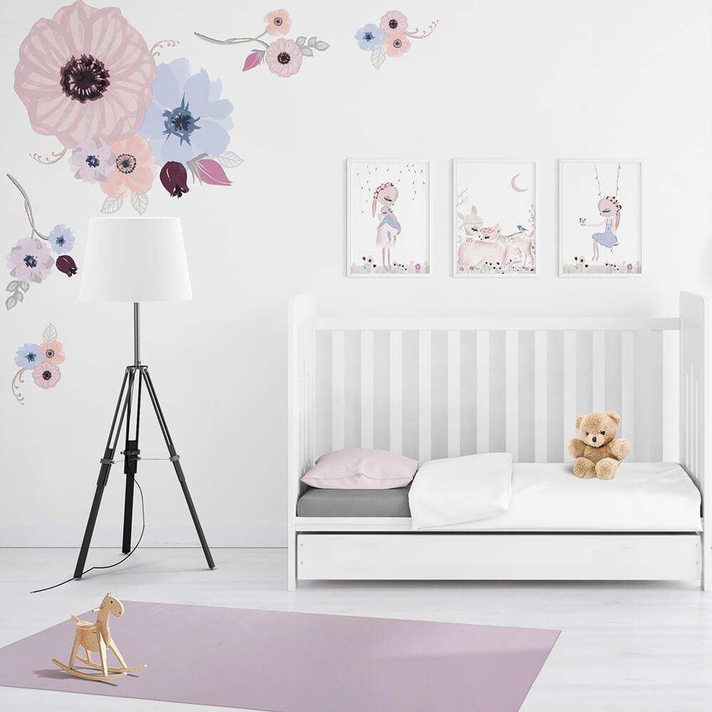 Hidden Forest Florals | Removable Fabric Wall Decals Wall Decals Blond + Noir