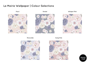 La Mairie Florals | Removable Wallpaper | For Hacks & Doll Houses Wallpaper Blond + Noir