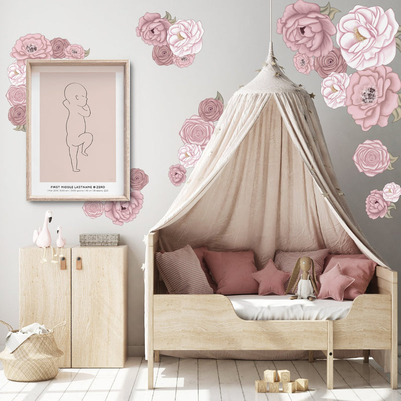 La Rochelle Florals | Removable Fabric Wall Decals Wall Decals Blond + Noir
