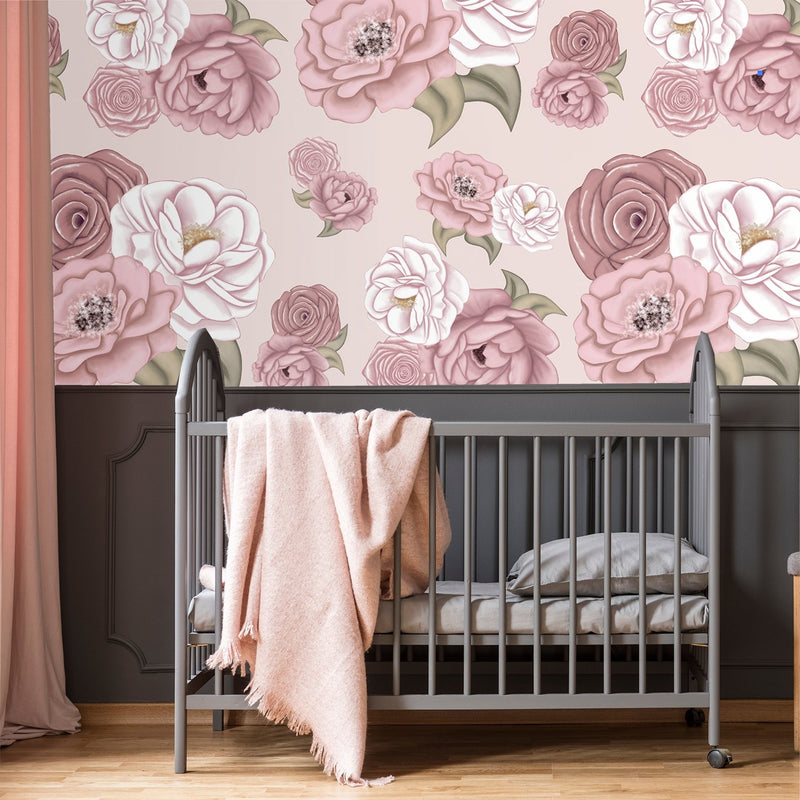 La Rochelle Florals | Removable Wallpaper | For Hide & Seek Kids Cubbies Wallpaper Blond + Noir