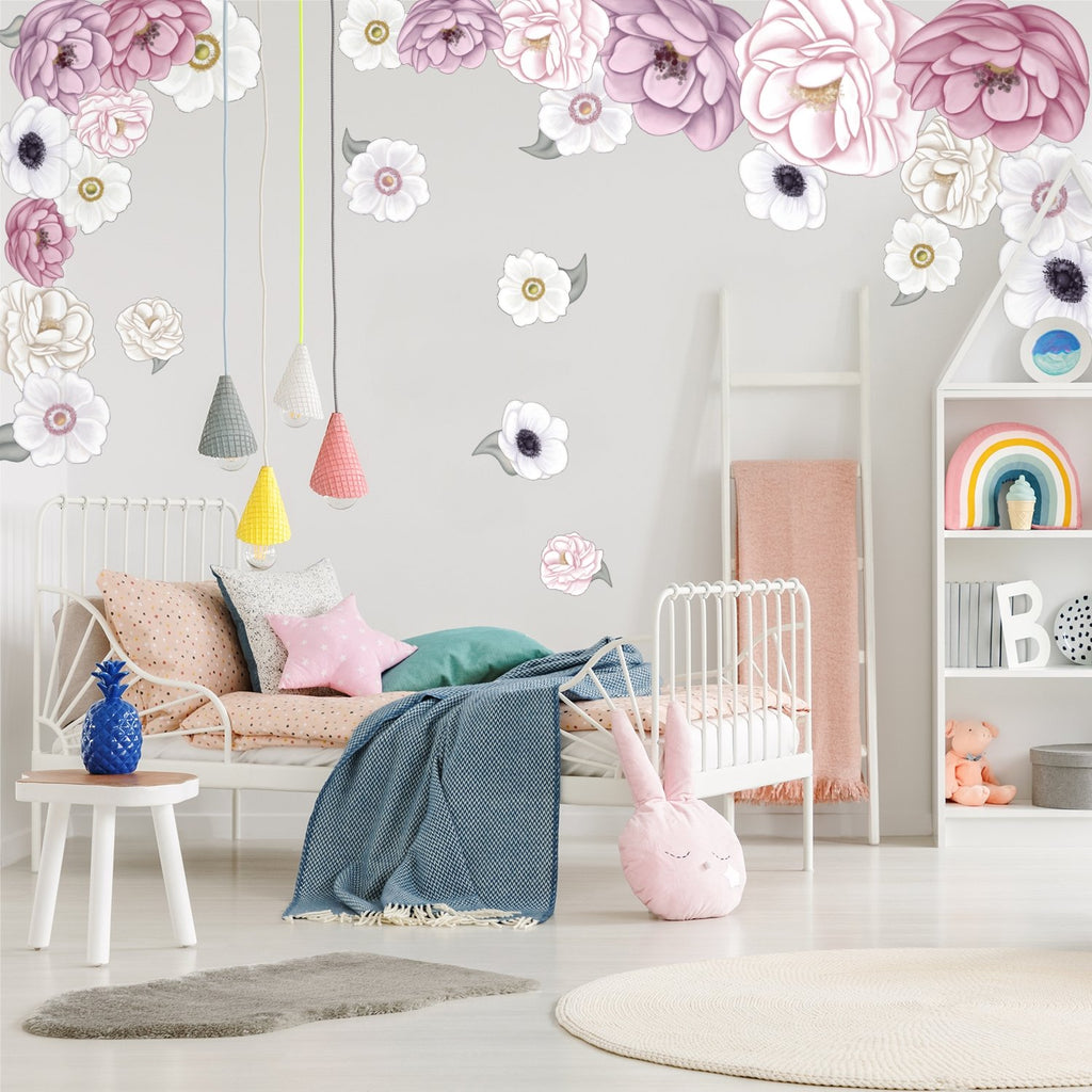 Lille Florals | Removable Fabric Wall Decals Wall Decals Blond + Noir