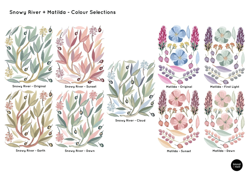 Matilda's Garden Floral | Removable Fabric Wall Decals Wall Decals Blond + Noir