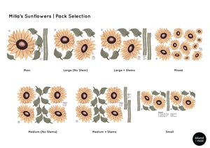 Milla's Sunflowers | Removable Fabric Wall Decals Wall Decals Blond + Noir