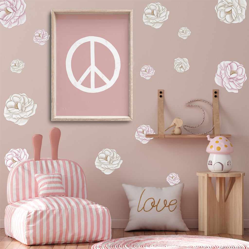 Paule Peonies | Removable Fabric Wall Decals Wall Decals Blond + Noir