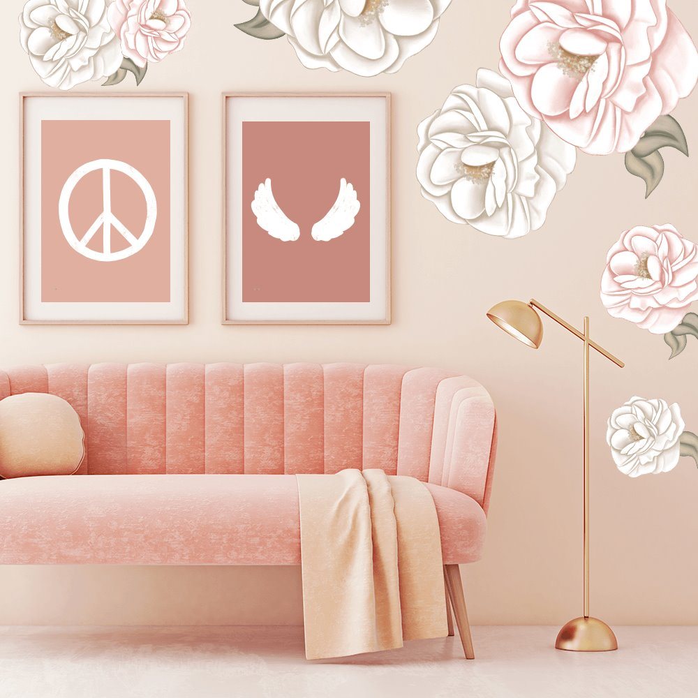 Pivoine | Peony | Removable Fabric Wall Decals Wall Decals Blond + Noir