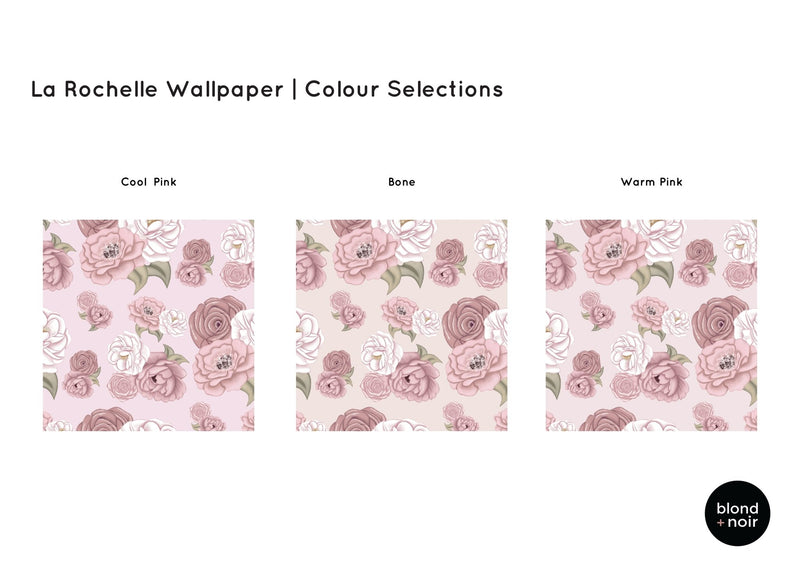 PRE-ORDER: La Rochelle Florals | Removable Wallpaper | Full & Half Walls Wallpaper Blond + Noir