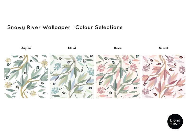 PRE-ORDER: Snowy River | Removable Wallpaper | Full & Half Walls Wallpaper Blond + Noir