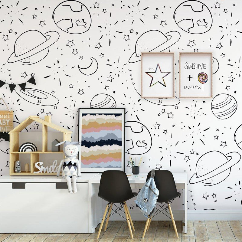 PRE-ORDER: Space | Removable Wallpaper | Full & Half Walls Wallpaper Blond + Noir