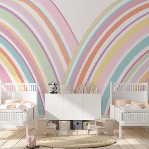 Rainbow Brights | Removable Wallpaper | For Hacks & Doll Houses Wallpaper Blond + Noir
