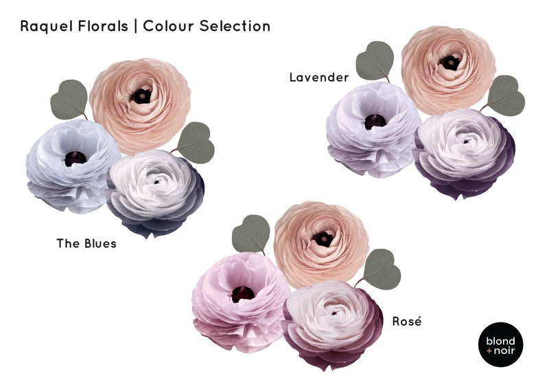 Raquel Florals | Removable Fabric Wall Decals Wall Decals Blond + Noir