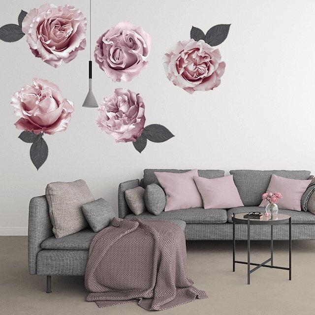 Sofia Florals | Removable Fabric Wall Decals Wall Decals Blond + Noir