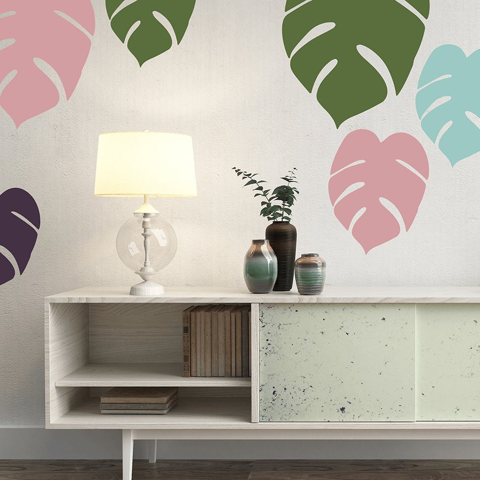 Tropical Monstera Leaves | Removable Fabric Wall Decals Wall Decals Blond + Noir