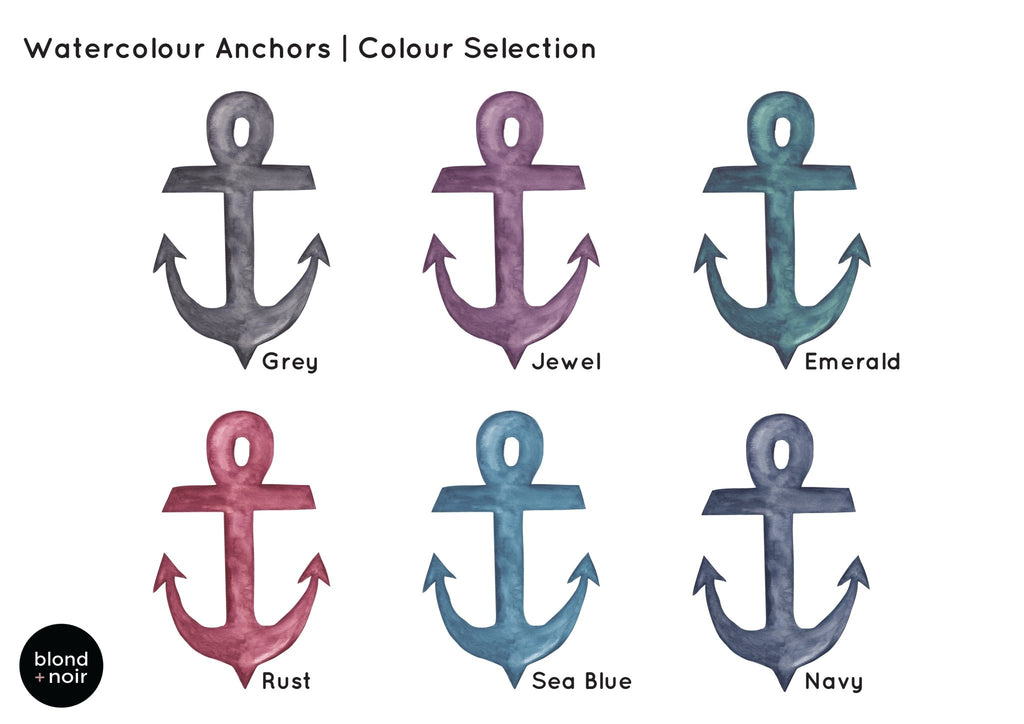 Watercolour Anchors | Removable Fabric Wall Decals Wall Decals Blond + Noir