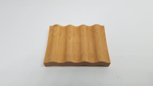 Curved Grooved Beechwood Soap Dish Small