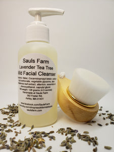 Lavender Tea Tree Mild Facial Cleanser and brush