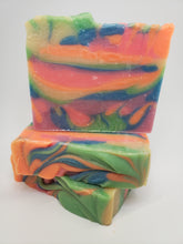 "Load image into Gallery viewer, Rainbow ""bite me""  handmade soap. CP soap"