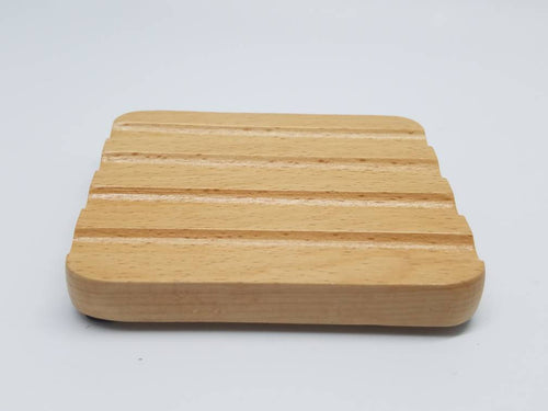Grooved Rectangle Beechwood Soap Dish Small
