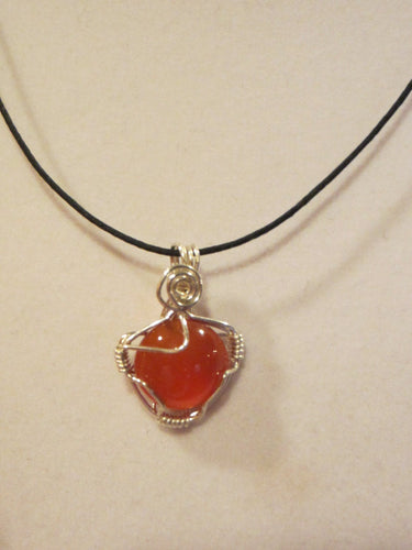 Carnelian Cabochon and .930 Argentium Sterling Silver Wire Wrapped Pendant