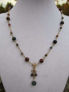 14 kt Gold Filled Fancy Jasper Necklace and Earring set.