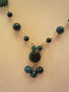 14 kt Gold Filled Australian Jasper Necklace and Earring set.
