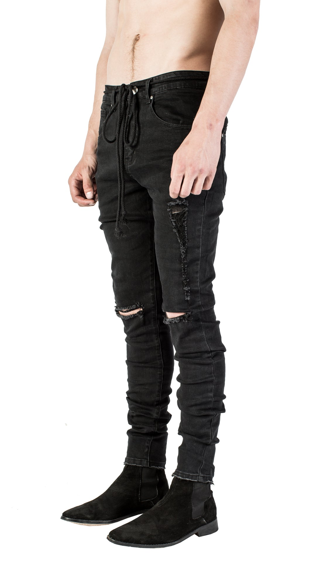 DISTRESSED LOGO DENIM - BLACK