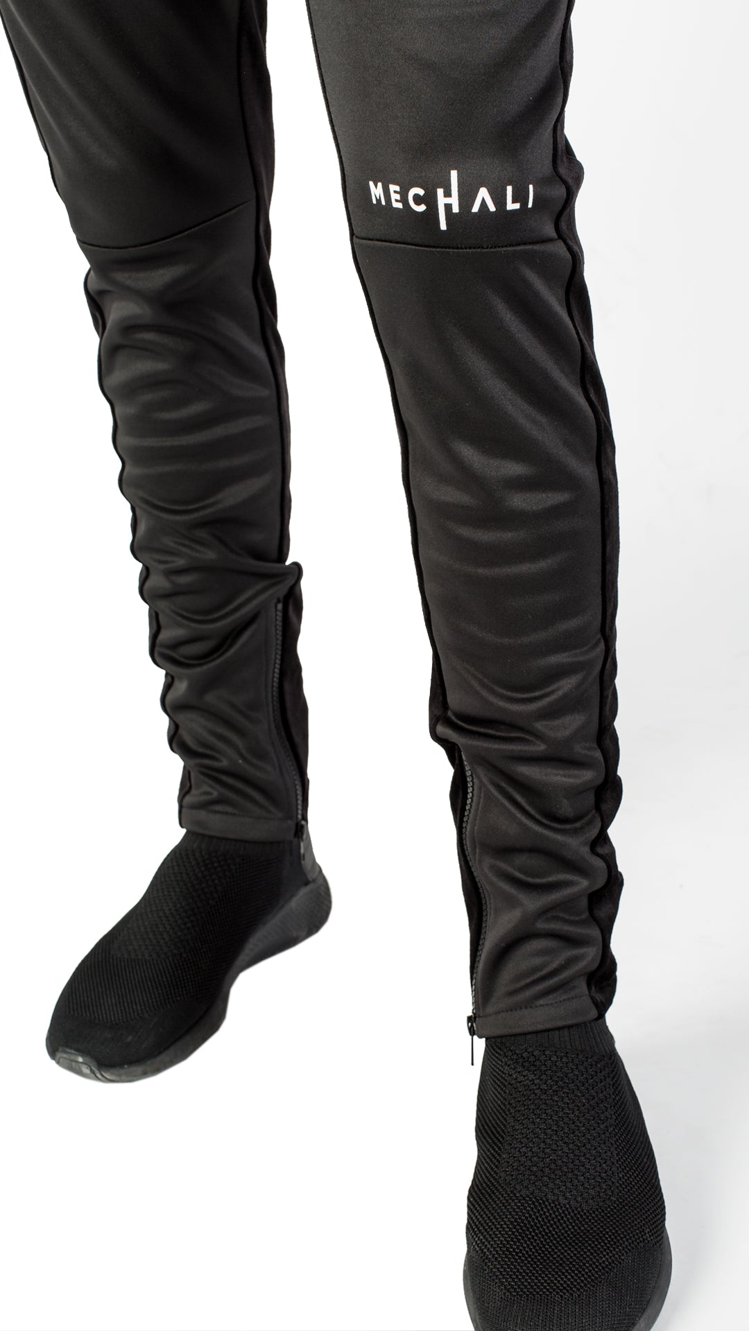 VELOUR STRIPE TRACK PANTS - BLACK ON BLACK