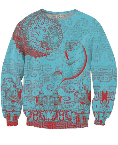 Moon and Manatee Crewneck Sweatshirt - KAG Aesthetics