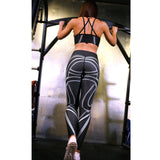 Performance Leggings w/ Abstract Curve Lines - KAG Aesthetics