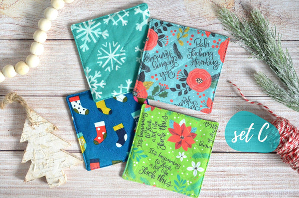 "Blue & Green ""Sweary"" Holiday Drink Coasters"