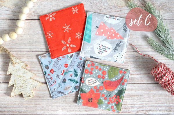 "Red & Grey ""Sweary"" Holiday Drink Coasters"