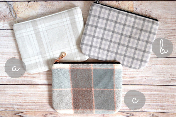 Light Grey Plaid Flannel Small Zipper Pouch