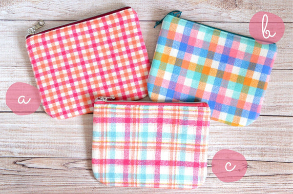 Pink Plaid Flannel Small Zipper Pouch
