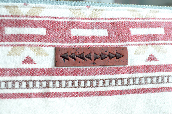 Red & White Taos Waxed Canvas Pouch