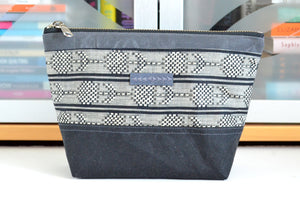 Black & White Woven Waxed Canvas Pouch