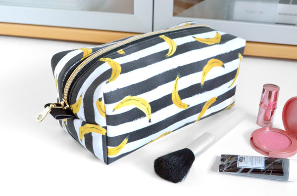 Black & White Striped Banana Boxy Toiletry Bag