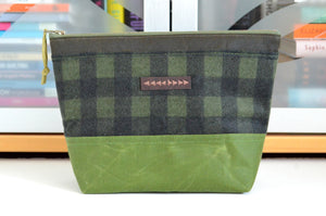 Olive Green Waxed Canvas Pouch