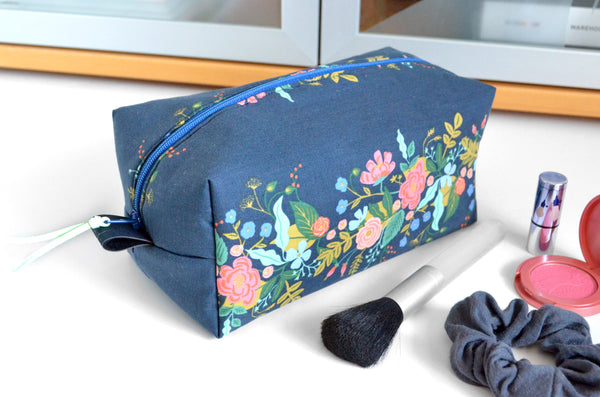 Navy Floral Vine Rifle Paper Co Toiletry Bag